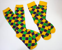 Yellow Diamond Printed Socks with Purple Green and Gold