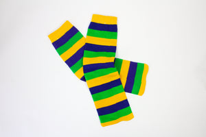 Purple Green Gold Striped Rugby Print Socks
