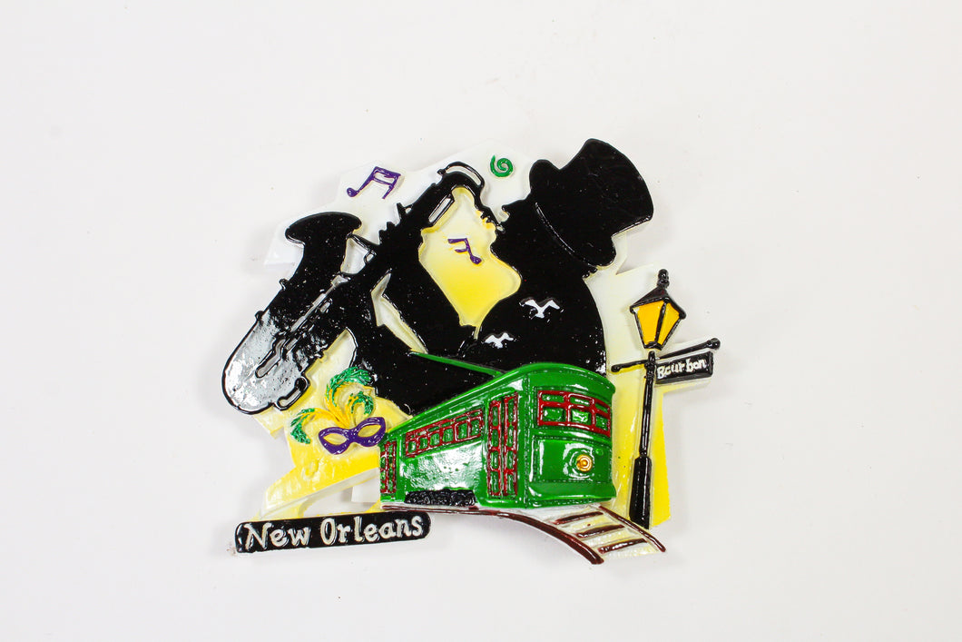 Street Musician, Streetcar and Streetlamp Magnet