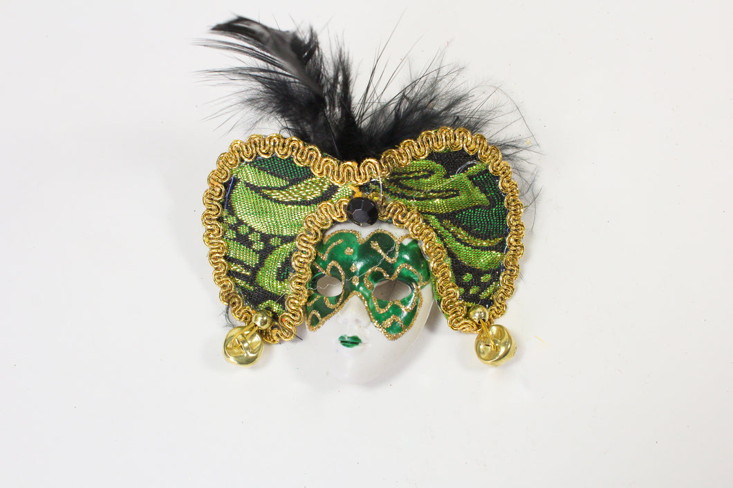 Face Mask Magnet with Brocade Headpiece and Feathers (Multiple Colors)