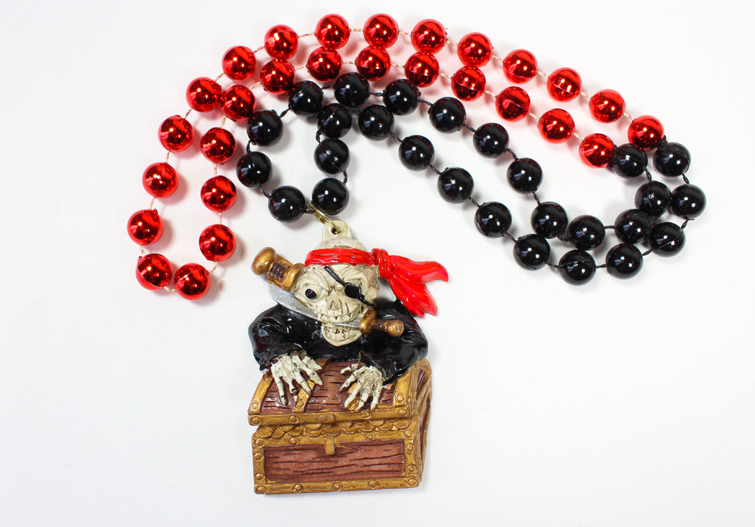 Skeleton Pirate with Swords & Gold Chest Bead