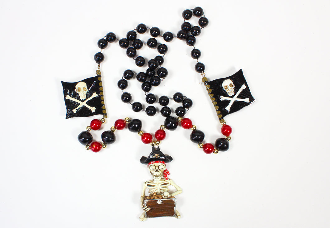 Pirate Skeleton with Gold Chest and Pirate Flags Bead