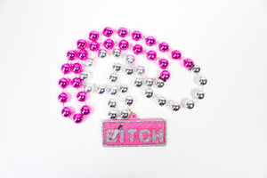 """Bitch"" Glitter Medallion Specialty Bead"