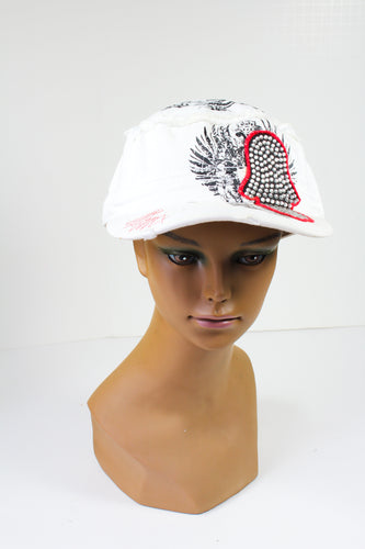 White Cap with a Sequined Hamsa Symbol