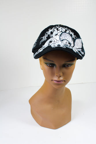 Black Cap with a Sequined Fleur de Lis Symbol