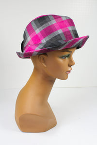 Gray and Pink Plaid Fedora