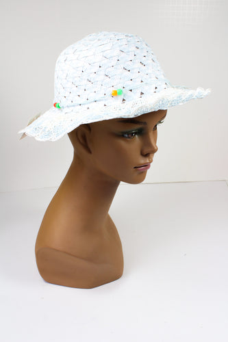 Childs White Straw Hat