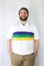White with Purple Green Gold Chest Stripe Short Sleeve Adult Polo Shirt