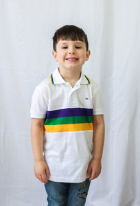 White with Purple Green Gold Chest Stripe Short Sleeve Polo Kids Shirt