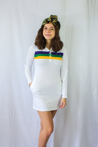 White Junior Dress with Purple Green and Gold Chest Stripes