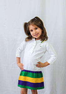Purple Green Gold Striped Trio Kids Dress