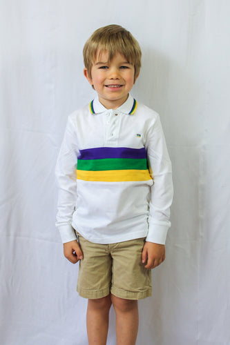 Purple Green Gold Chest Stripe Long Sleeve Kids Polo Shirt