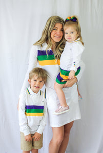 White with Purple Green Gold Chest Stripe Mardi Gras Women's Dress