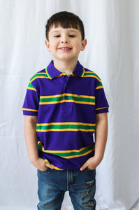Purple Infinity Spaced Stripe Short Sleeve Kids Polo Shirt