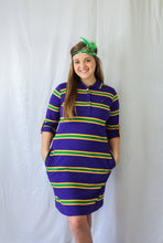 Purple Infinity Spaced Stripe Mardi Gras Dress