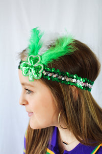 Sequin Headband with Green and Silver Shamrock and Feathers (St Pattys Day)