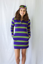 Purple Junior Infinity Space Stripe Mardi Gras Dress