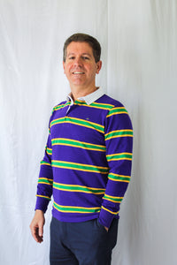 Purple Infinity Spaced Stripe Adult Long Sleeve Polo Shirt