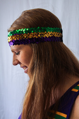 Sequin Purple Green and Gold Headband