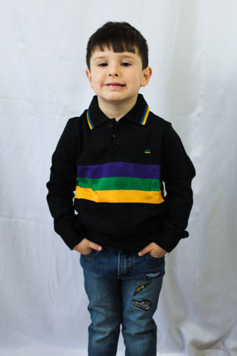 Black with Purple Green and Gold Stripes Kids Long Sleeve Mardi Gras Polo Shirt