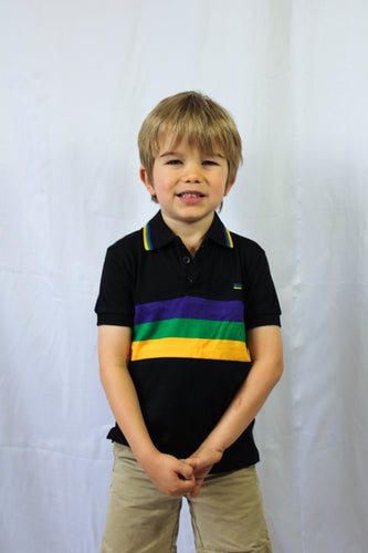 Black with Purple Green and Gold Stripes Kids Short Sleeve Polo Mardi Gras Shirt