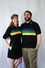 Black with Purple Green and Gold Stripes Short Sleeve Mardi Gras Shirt