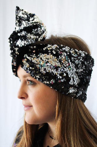 Black and Silver Reversible Sequins Turbans/Headbands