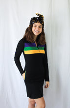 Black Junior Dress with Purple Green and Gold Chest Stripes