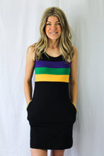 Black Mardi Gras Tank Dress with Purple Green and Gold Chest Stripe