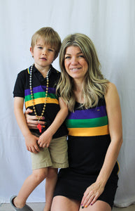 Black Tank Dress with Purple Green and Gold Chest Stripes