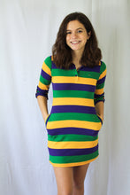 Junior Purple Green and Gold All Over Striped Rugby Dress