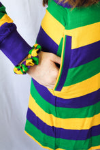 Purple Green Gold All Over Striped Dress