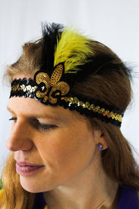 Sequin Headbands with Black and Gold Fleur de Lis and Feathers
