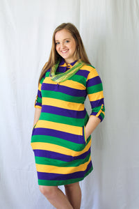 Purple Green Gold All Over Striped Rugby Women's Dress