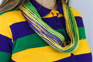 Purple Green and Gold Mesh Magnetic Scarf Necklace