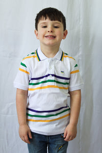 Purple Green Gold Spaced Stripe Short Sleeve Kids Polo Shirt