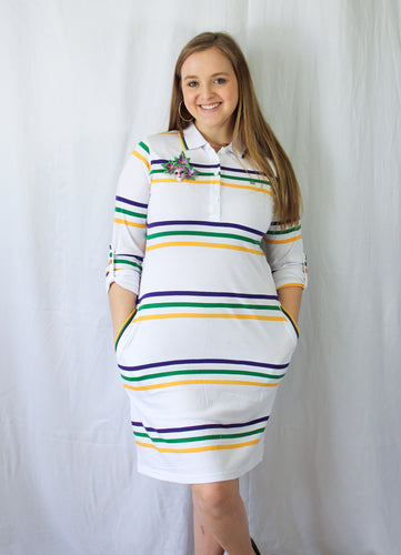 Purple Green and Gold Spaced Stripe Mardi Gras Women's Dress