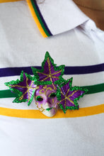 Mardi Gras Face Pin with Three Leaf Accents- Purple/Green/Gold