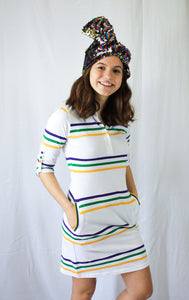 Junior White Infinity Purple Green Gold Spaced Stripe Dress