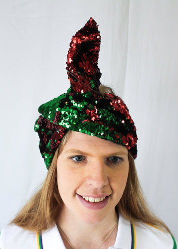 Red and Green Reversible Sequin Turbans/Headbands (St Pattys or Italian Parades)