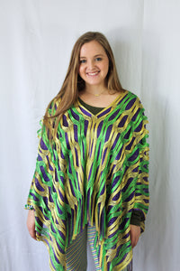 Purple Green and Gold Oval Cut Mesh Poncho