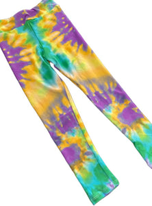 Junior Mardi Gras Purple, Green, Gold Tye Dye Leggings