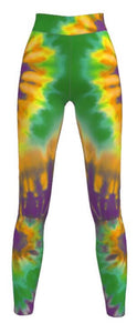 Adult  Mardi Gras Purple, Green, Gold Tye Dye Leggings