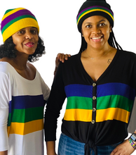 Black Mardi Gras Rugby Beanie with Purple Green and Gold Stripes