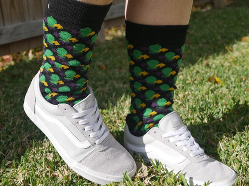 Black Socks with Purple Green and Gold Fleur de Lis Socks
