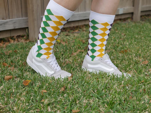 6e38d4211 Purple Green Gold Golf Harlequin Print Knee Socks – Mardi Gras Creations