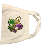 Purple Green & Gold Rhinestone Fleur de Lis Face Mask