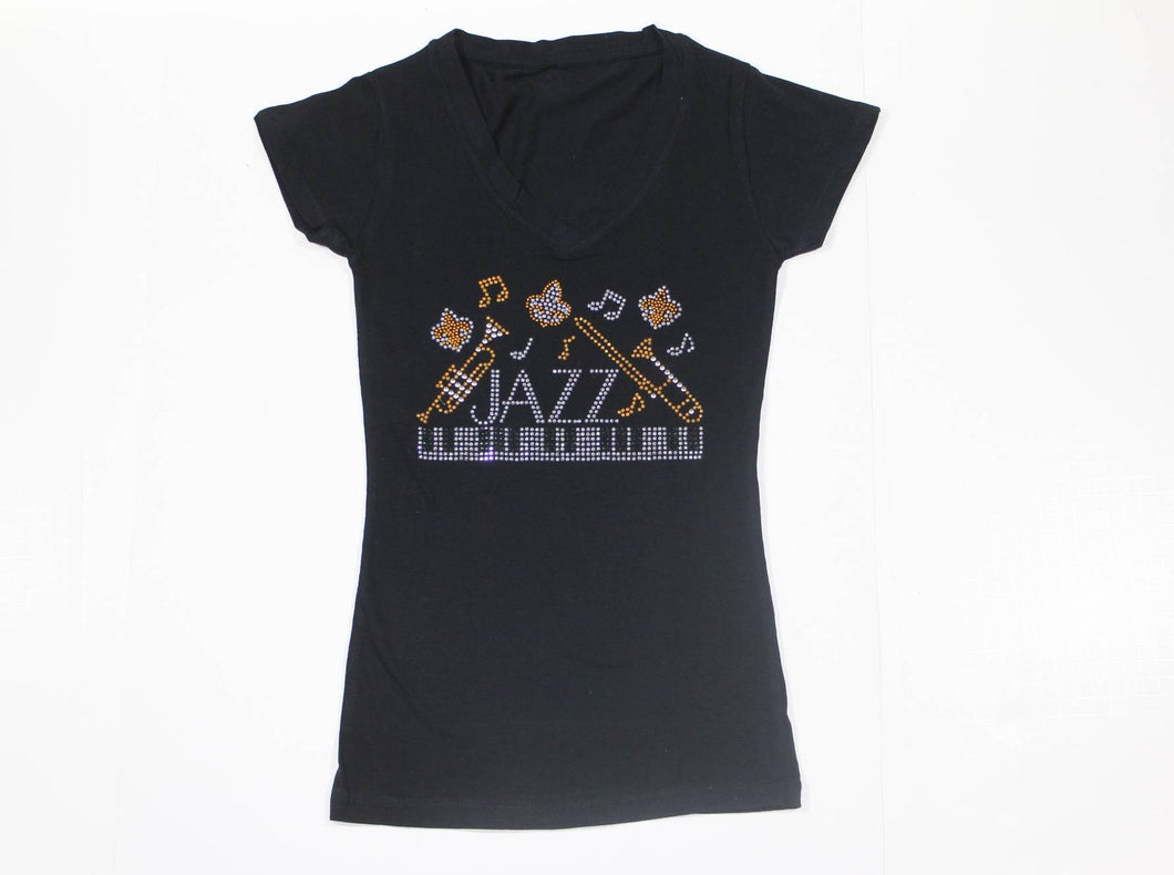 JAZZ Piano with Music Notes Rhinestone