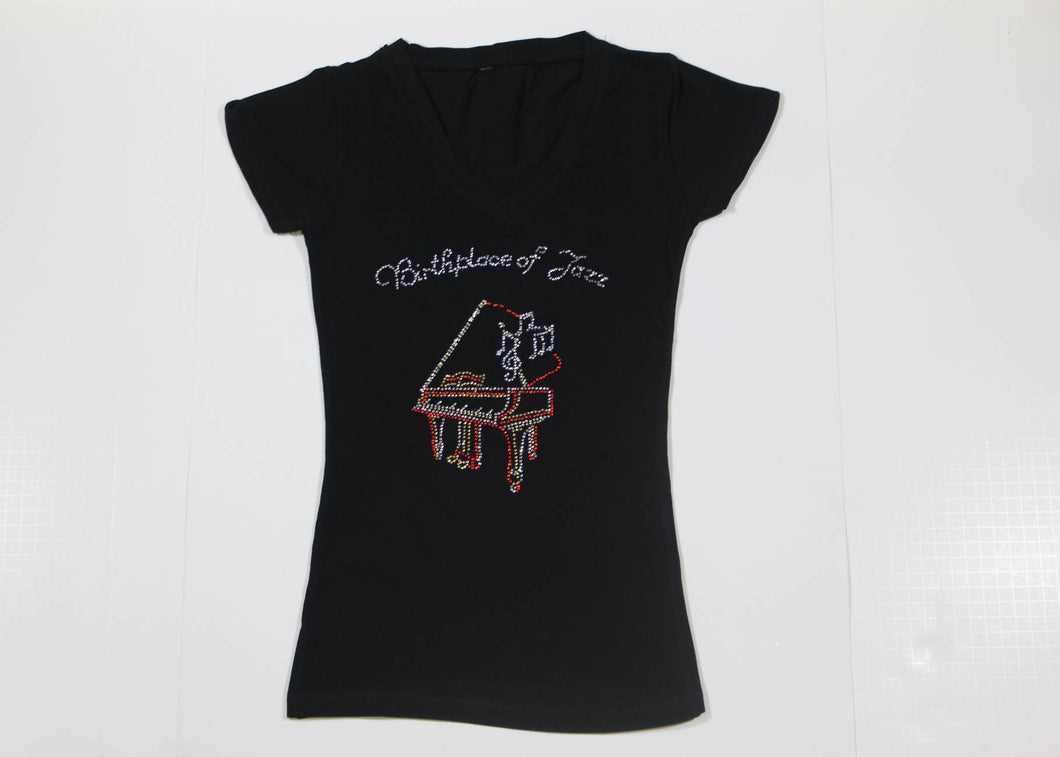 Piano with Music Notes Rhinestone