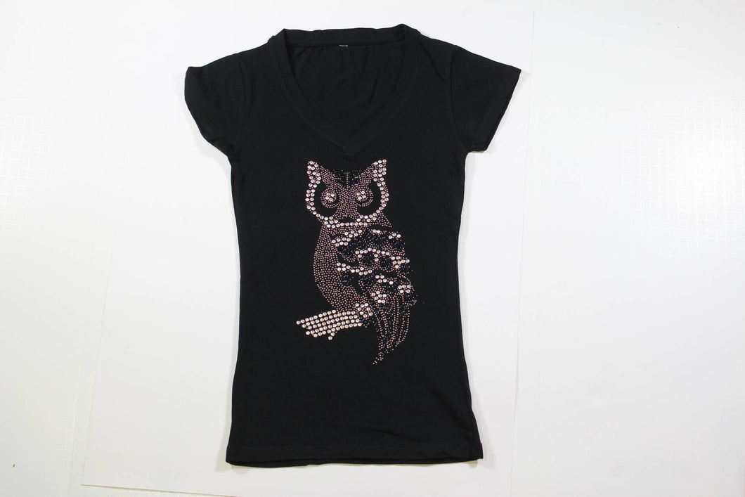 Side Owl with Black and Silver Rhinestone